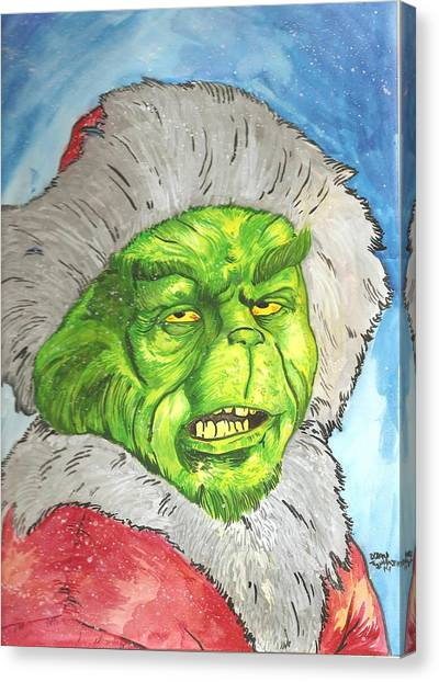 Grinch Canvas Print - Merry Grinchmas by Brian Typhair