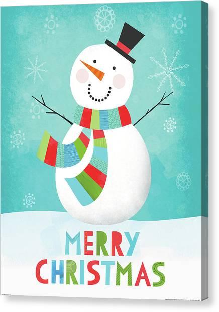 Christmas Canvas Print - Merry Snowman IIi by Lamai Mccartan