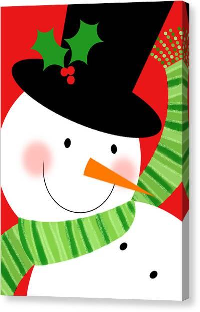 Merry Snowman Canvas Print