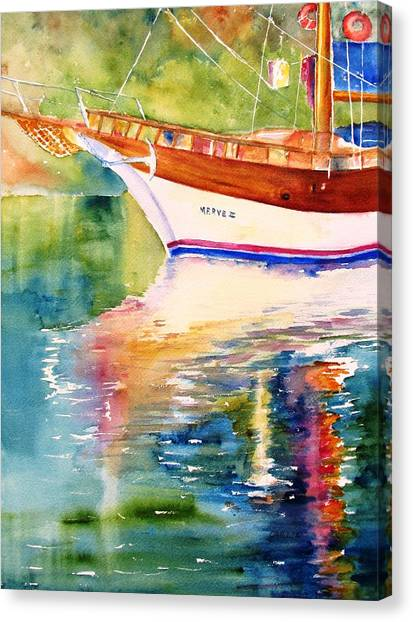 Merve II Gulet Yacht Reflections Canvas Print