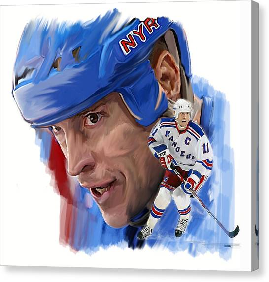 New York Rangers Canvas Print - Messier II Mark Messier by Iconic Images Art Gallery David Pucciarelli