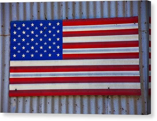 Gay Flag Canvas Print - Metal American Flag by Garry Gay