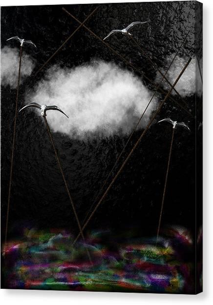 Metallic Seagulls Suspended Over A Rainbow Ocean Canvas Print
