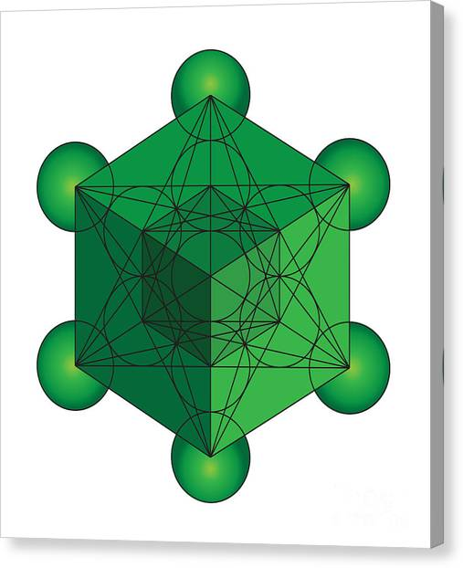 Metatron's Cube In Green Canvas Print