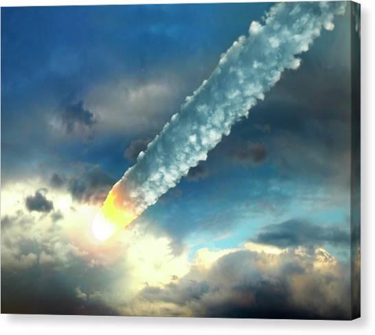 Meteor In The Earths Atmosphere, Artwork Canvas Print by Roger Harris