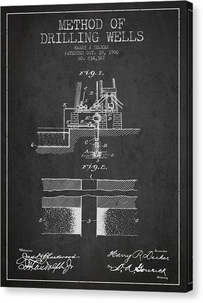 Oil Rigs Canvas Print - Method Of Drilling Wells Patent From 1906 - Dark by Aged Pixel