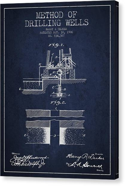 Oil Rigs Canvas Print - Method Of Drilling Wells Patent From 1906 - Navy Blue by Aged Pixel