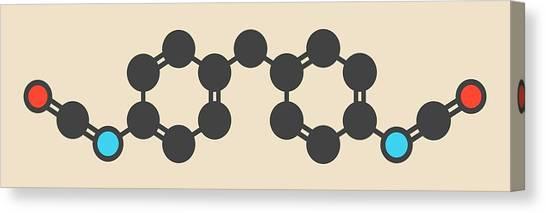 Molecule Canvas Print - Methylene Diphenyl Diisocyanate Molecule by Molekuul