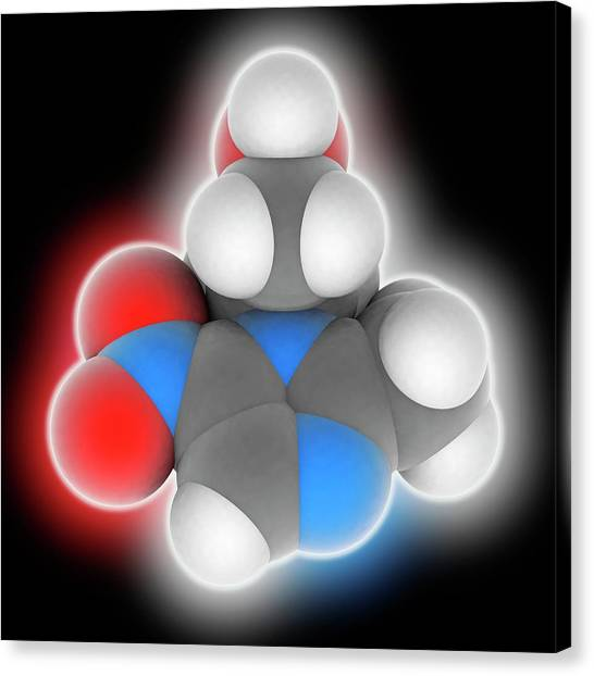 Metronidazole Drug Molecule Canvas Print by Laguna Design