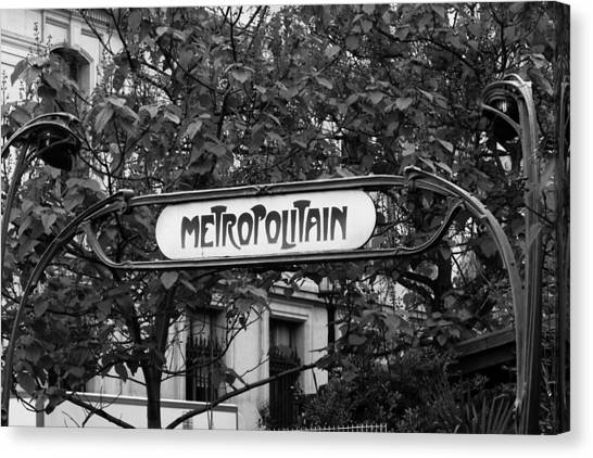 Metropolitain - Bw Canvas Print by Carrie Warlaumont