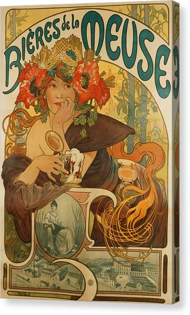 Beer Canvas Print - Meuse Beer by Alphonse Marie Mucha