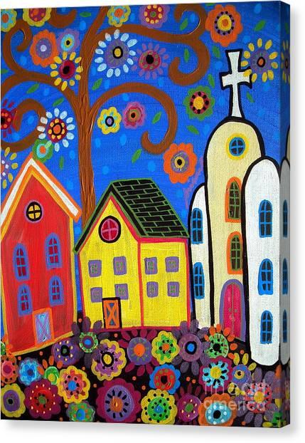 Mexican Church Town Canvas Print