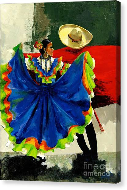 Traditional Canvas Print - Mexican Dancers by Elisabeta Hermann