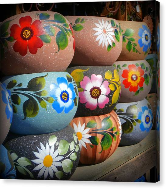 Old Town San Diego Canvas Print - Mexican Pottery In Old Town by Karyn Robinson