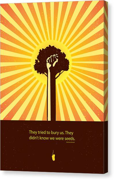 Canvas Print featuring the painting Mexican Proverb Minimalist Poster by Sassan Filsoof