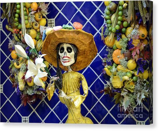 Dia Del Muerto Canvas Print - Mexican Style Statue by Phillip Flusche