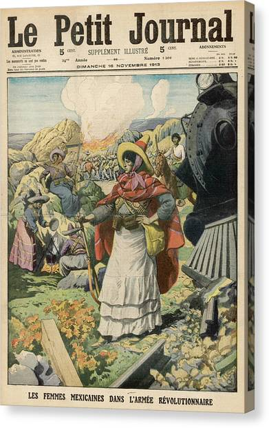 Womens Rights Canvas Print - Mexican Women Fight In Dresses by Mary Evans Picture Library
