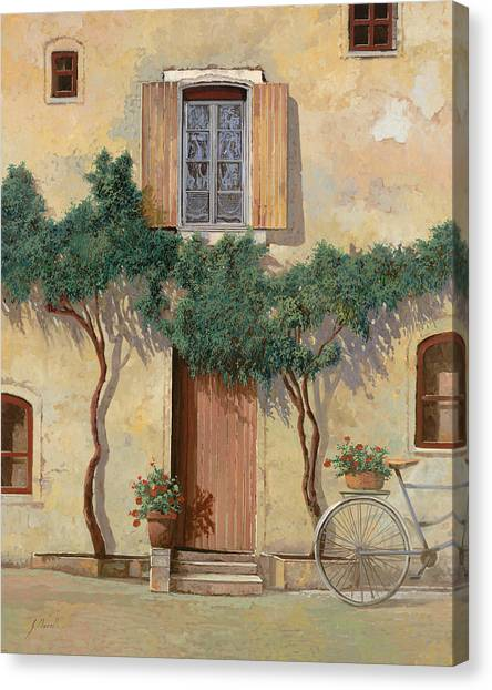 Bicycle Canvas Print - Mezza Bicicletta Sul Muro by Guido Borelli