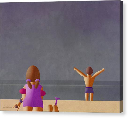 Sand Castles Canvas Print - Mgl - Bathers And Coast 12 by Joost Hogervorst
