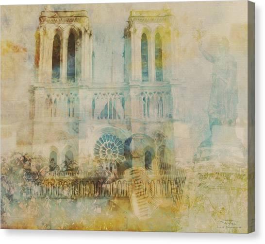 Liberte Canvas Print - Mgl - City Collage - Paris 03 by Joost Hogervorst