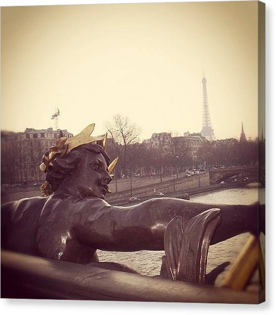 Gold Canvas Print - #mgmarts #france #paris #statue #bridge by Marianna Mills