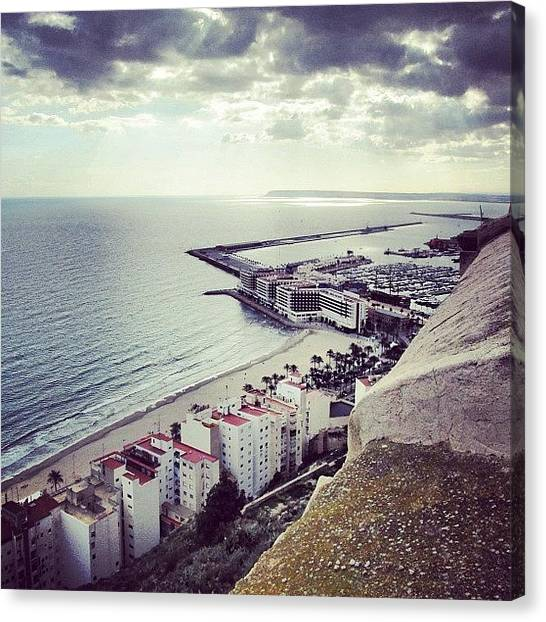 Sky Canvas Print - #mgmarts #spain #seaside #sea #view by Marianna Mills