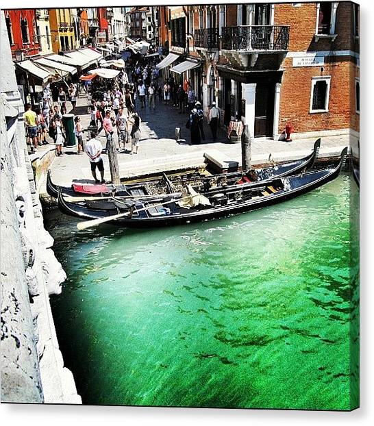 Humans Canvas Print - #mgmarts #venice #italy #europe #canal by Marianna Mills