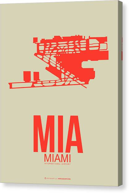 Miami Canvas Print - Mia Miami Airport Poster 3 by Naxart Studio