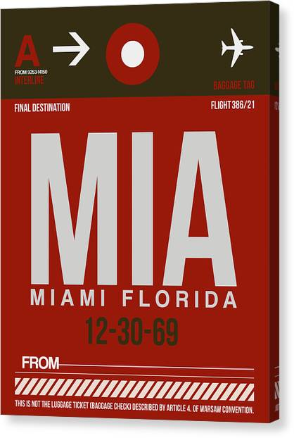 Airports Canvas Print - Mia Miami Airport Poster 4 by Naxart Studio