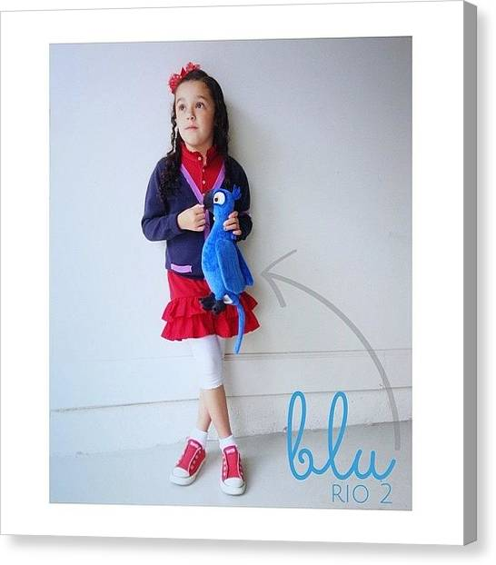 Macaws Canvas Print - Mia With Her Blu From @riomovies #rio2 by Kika Verde