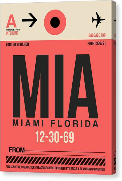 Miami Canvas Print - Miami Airport Poster 3 by Naxart Studio