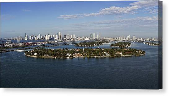Miami And Star Island Skyline Canvas Print