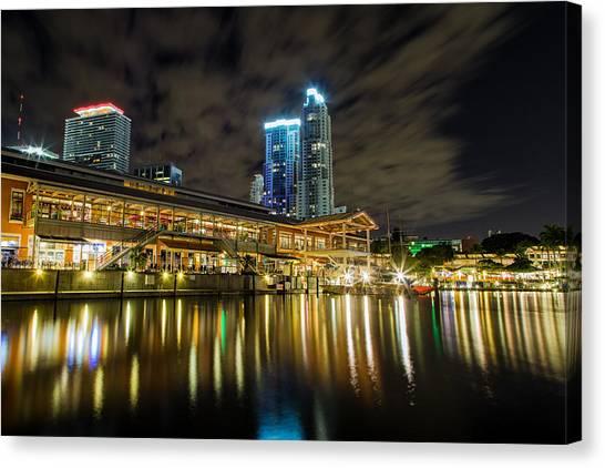 Miami Bayside At Night Canvas Print