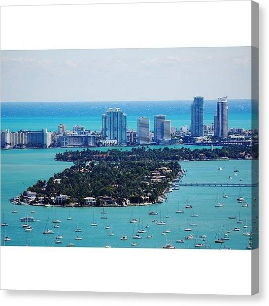 Iger Canvas Print - Miami Beach & Biscayne Bay by Joel Lopez