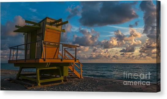 Lifeguard Canvas Print - Miami Beach Lifeguard Station Glows From The First Light Of Day - Panoramic by Ian Monk