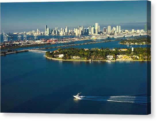 Miami City Biscayne Bay Skyline Canvas Print