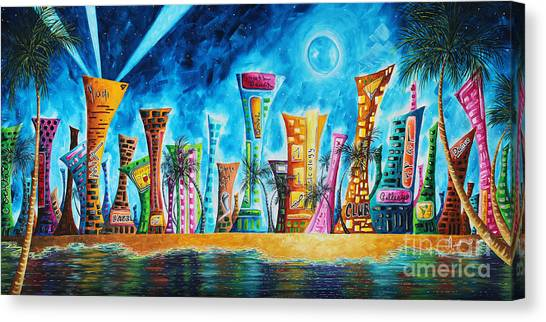 Canvas Print - Miami City South Beach Original Painting Tropical Cityscape Art Miami Night Life By Madart Absolut X by Megan Duncanson