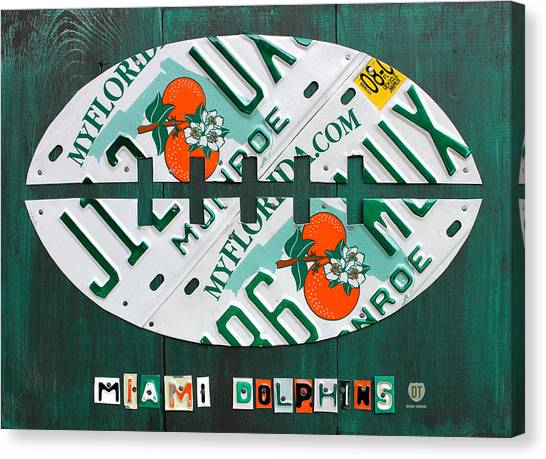 Miami Dolphins Canvas Print - Miami Dolphins Football Recycled License Plate Art by Design Turnpike
