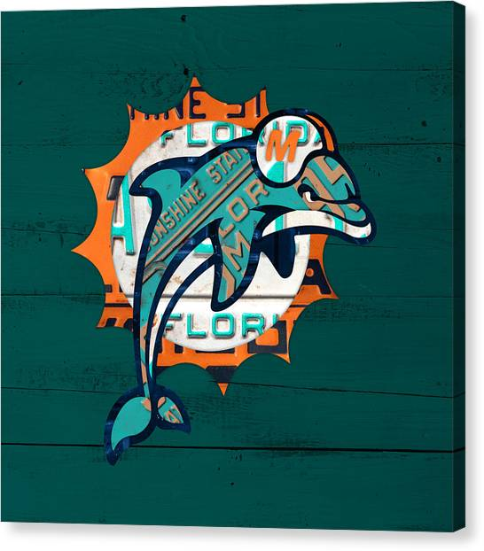 Miami Dolphins Canvas Print - Miami Dolphins Football Team Retro Logo Florida License Plate Art by Design Turnpike