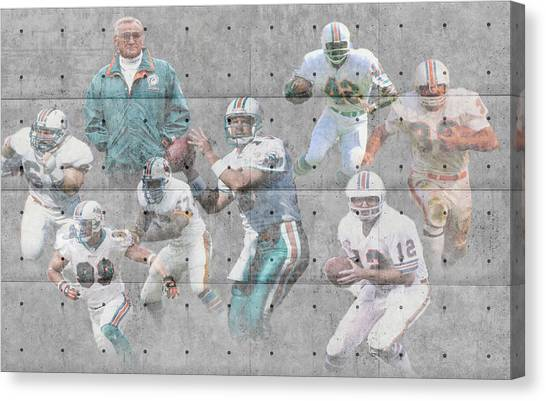 Miami Dolphins Canvas Print - Miami Dolphins Legends by Joe Hamilton