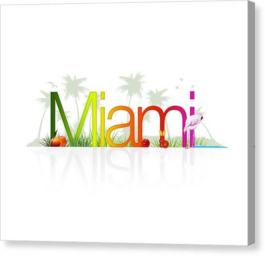 Tropical Beach Canvas Print - Miami- Florida by Aged Pixel