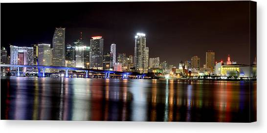 Miami Skyline Canvas Print - Miami - Florida  by Brendan Reals
