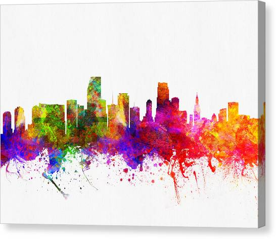 Miami Skyline Canvas Print - Miami Florida Skyline by Aged Pixel