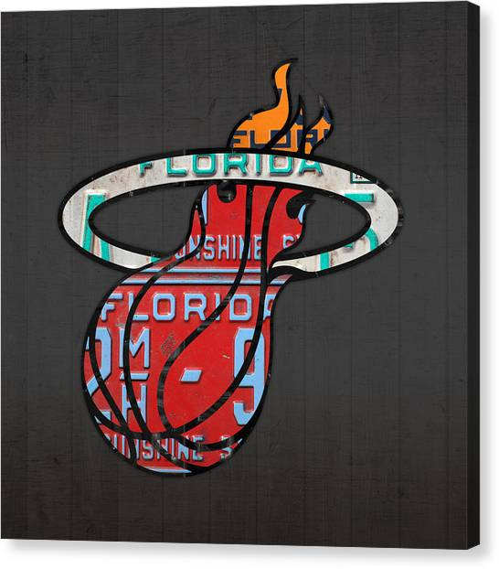 Basketball Canvas Print - Miami Heat Basketball Team Retro Logo Vintage Recycled Florida License Plate Art by Design Turnpike