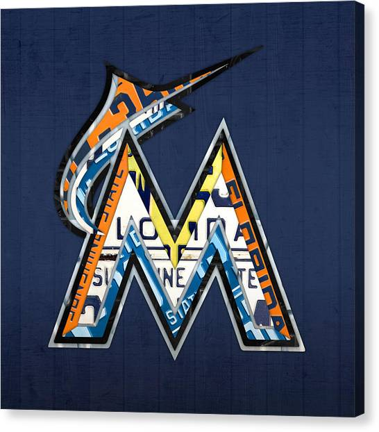 Baseball Teams Canvas Print - Miami Marlins Baseball Team Vintage Logo Recycled Florida License Plate Art by Design Turnpike