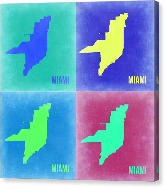 Miami Canvas Print - Miami Pop Art Map 2 by Naxart Studio