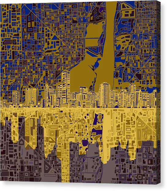 Miami Skyline Canvas Print - Miami Skyline Abstract 3 by Bekim Art