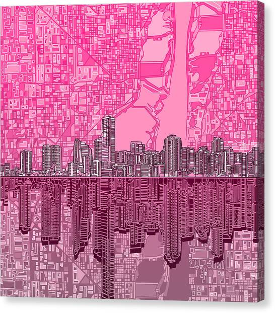 Miami Skyline Canvas Print - Miami Skyline Abstract 4 by Bekim Art