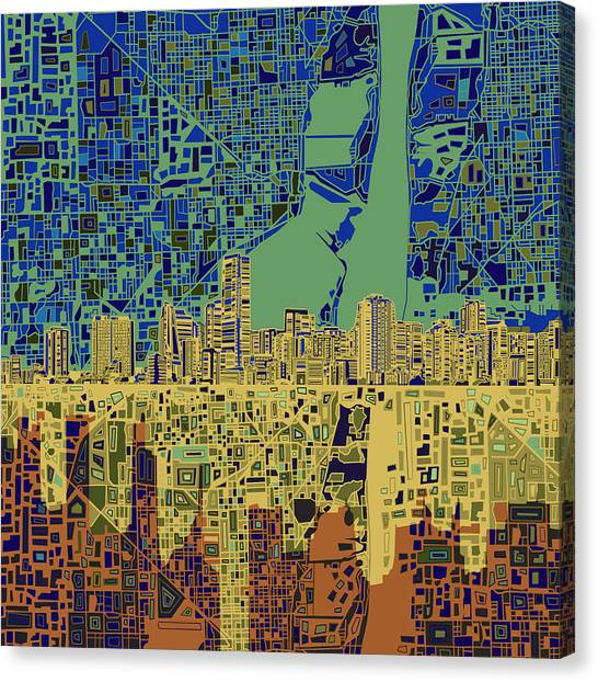 Miami Skyline Canvas Print - Miami Skyline Abstract 7 by Bekim Art