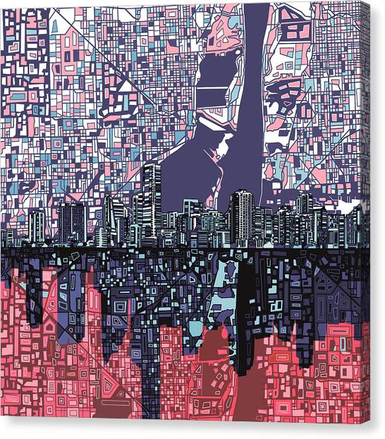 Miami Skyline Canvas Print - Miami Skyline Abstract by Bekim Art